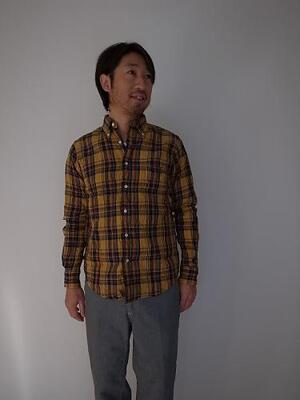 DAYS&DAYCRAFT      リネンチェックBDシャツ イエロー系