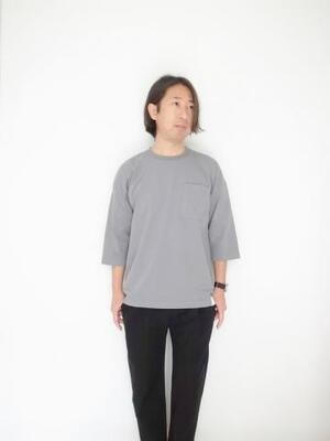 BETTER AMERICAN COTTON 3/4 SLEEVE CREW NECK GREY