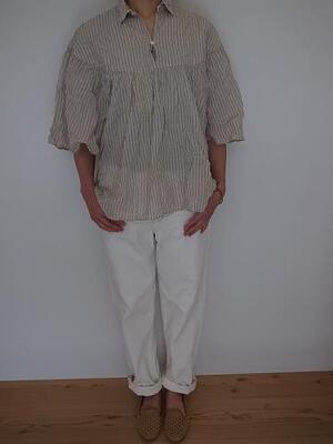Brocante ケープシャツ 綿麻シャーリングストライプ