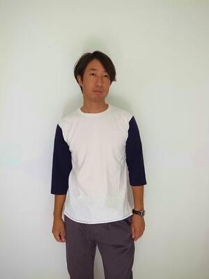 Jackman Baseball T-shirt  White×Navy