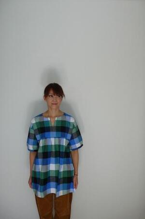 南京豆印 ビッグブロックチェックチュニック ブルー