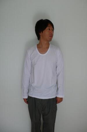 pyjamaclothing メンズ L/S U NECK WHITE