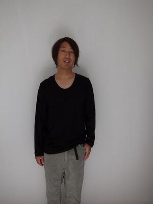 pyjamaclothing メンズ L/S U NECK BLACK