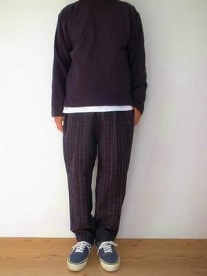 HEALTH ヘルス Easy pants #2 navy brown check
