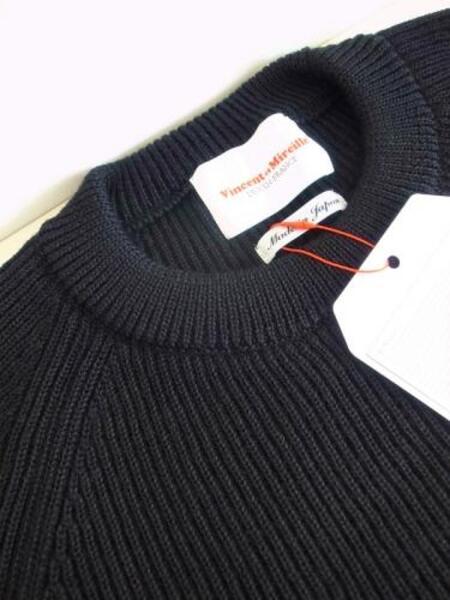 Vincent et Mireille 8GG 畦クルーネックセーター BLACK